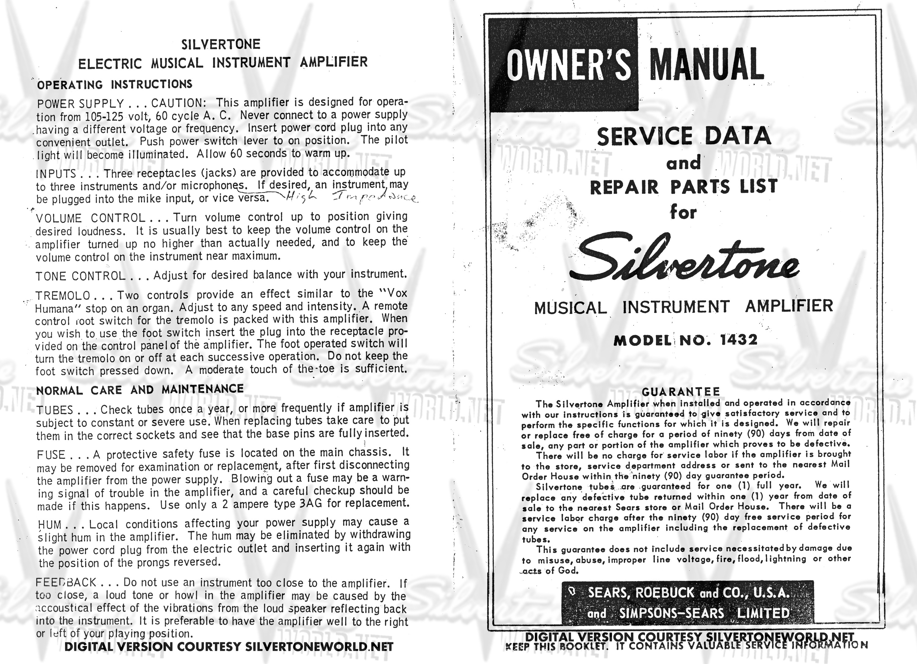 ford 900 wiring diagram silvertone world - division 57 - schematics, manuals and ...